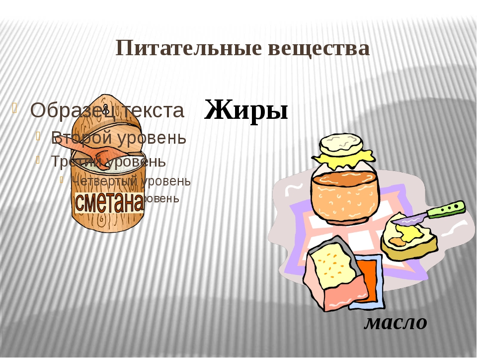 Питательные вещества Жиры масло