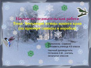 Выполнила : Серенко Елизавета,ученица 4 б класса Научный руководитель: Остани