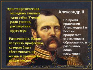 Война России с Турцией Александр II Аристократическая молодёжь училась «для