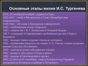 Основные этапы жизни И.С. Тургенева 1818, 28 октября (9 ноября) - родился в