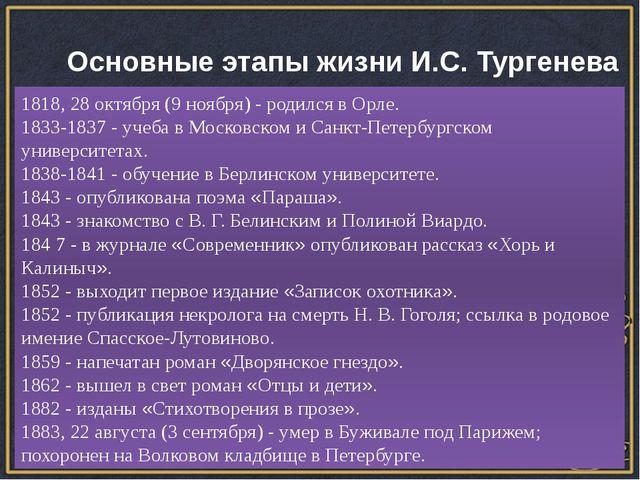 Основные этапы жизни И.С. Тургенева 1818, 28 октября (9 ноября) - родился в...