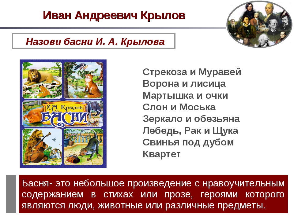 Назови басни И. А. Крылова Стрекоза и Муравей Ворона и лисица Мартышка и очки...