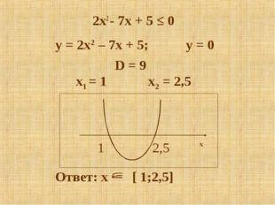 2x2 - 7x + 5 ≤ 0 x1 = 1 x2 = 2,5 D = 9 y = 2x2 – 7x + 5; y = 0