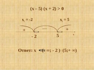 (x – 5) (x + 2) > 0 x1 = -2 x2 = 5