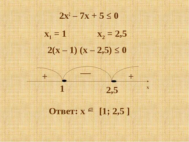 2x2 – 7x + 5 ≤ 0 x1 = 1 x2 = 2,5 2(x – 1) (x – 2,5) ≤ 0