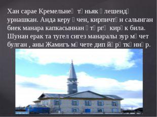 Хан сарае Кремельнең төньяк өлешендә урнашкан. Анда керу өчен, кирпичтән салы