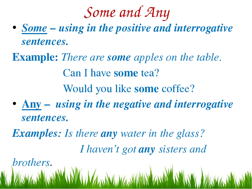 Some and Any Some – using in the positive and interrogative sentences. Exampl...