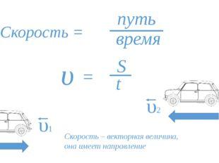Скорость = путь время υ = S t υ1 υ2 Скорость – векторная величина, она имеет