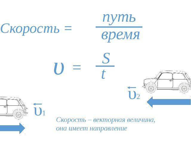 Скорость = путь время υ = S t υ1 υ2 Скорость – векторная величина, она имеет...