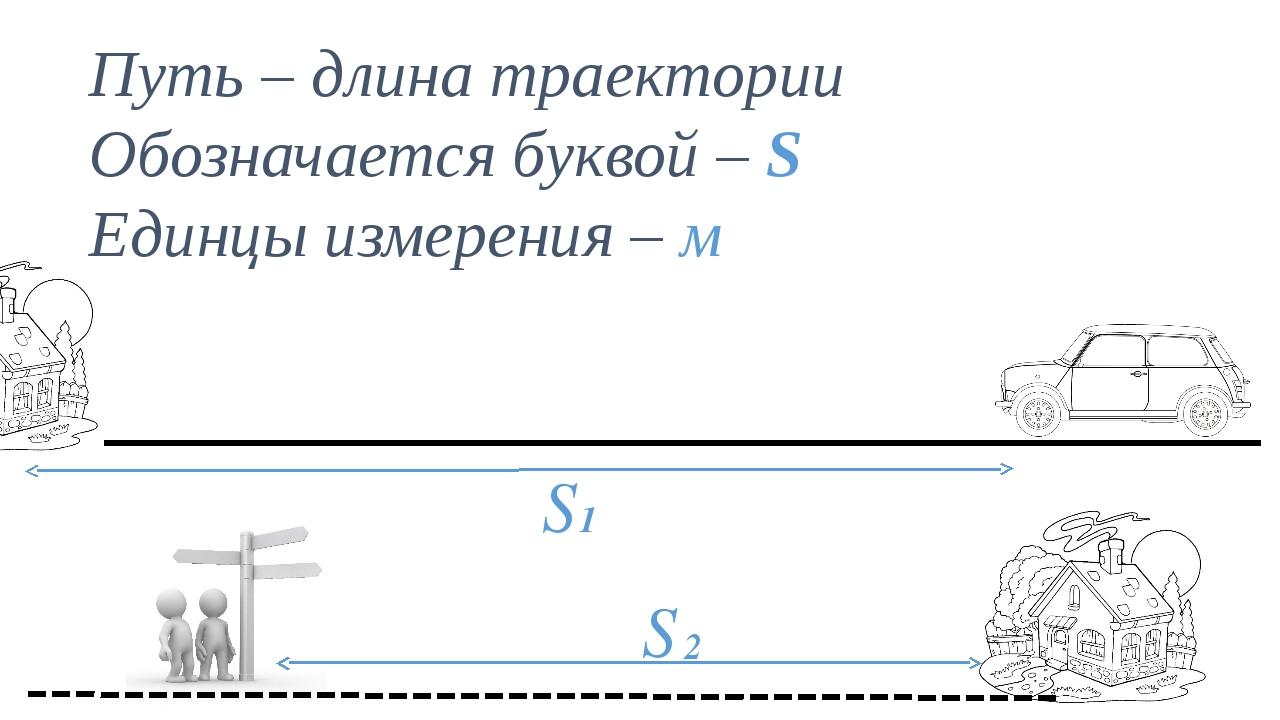 Путь – длина траектории Обозначается буквой – S Единцы измерения – м S 1 S 2