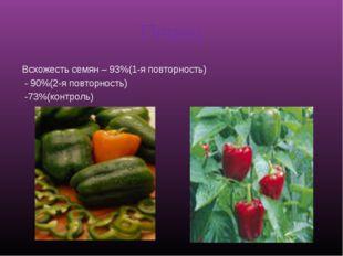 Перец Всхожесть семян – 93%(1-я повторность) - 90%(2-я повторность) -73%(конт