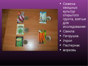 Семена овощных культур открытого грунта, взятые для исследования: Свекла Петр