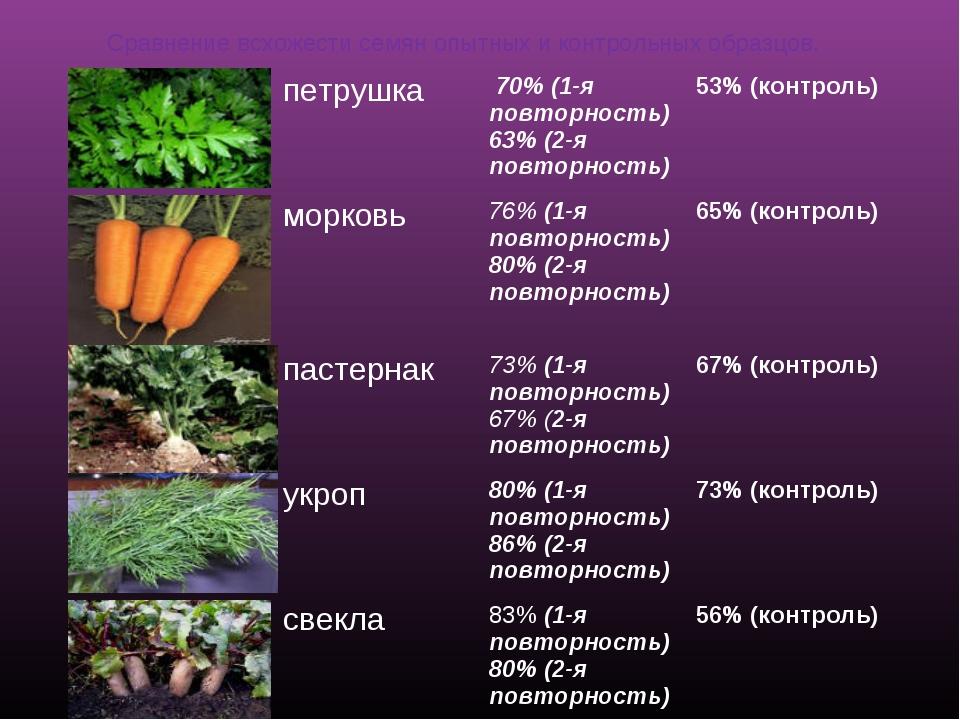 Сравнение всхожести семян опытных и контрольных образцов. петрушка 70% (1-я...