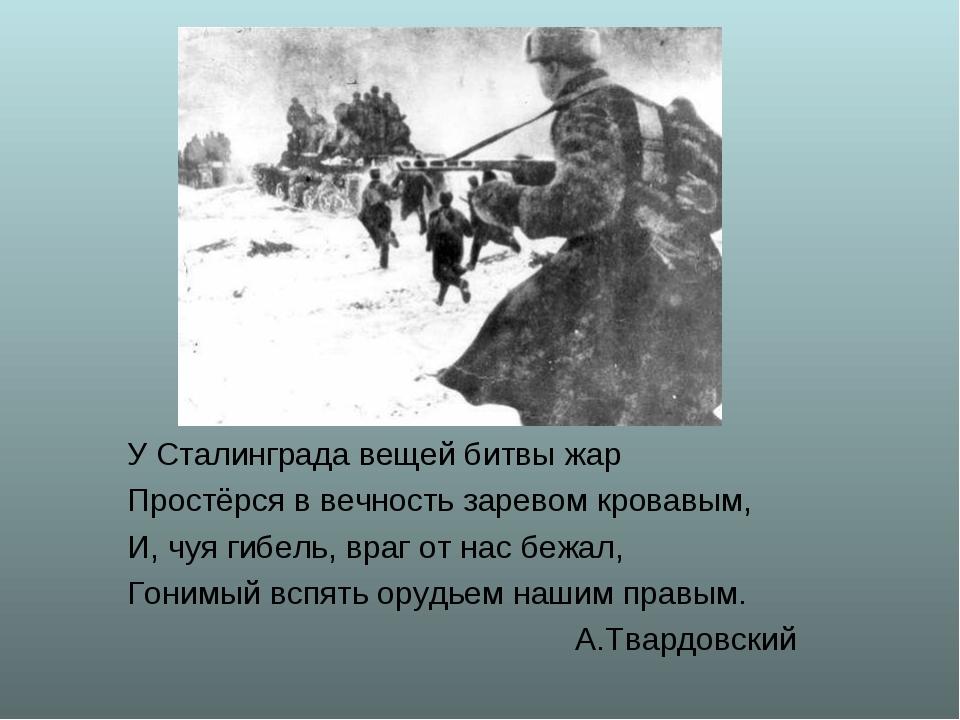 У Сталинграда вещей битвы жар Простёрся в вечность заревом кровавым, И, чуя г...