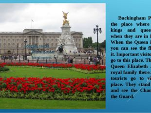 Buckingham Palace is the place where British kings and queens live when they