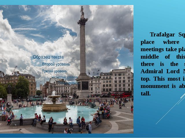 Trafalgar Square is a place where different meetings take place. In the midd...