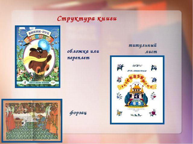 Структура книги обложка или переплет форзац титульный лист