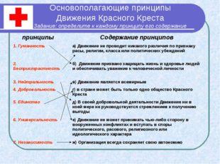 Основополагающие принципы Движения Красного Креста Задание: определите к кажд