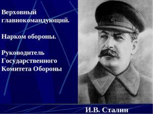 И.B. Сталин Верховный главнокомандующий. Нарком обороны. Руководитель Государ