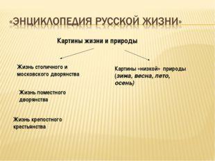 Картины жизни и природы Жизнь столичного и московского дворянства Жизнь крепо