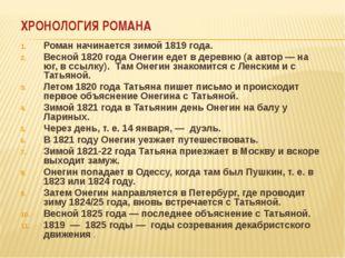 ХРОНОЛОГИЯ РОМАНА Роман начинается зимой 1819 года. Весной 1820 года Онегин е