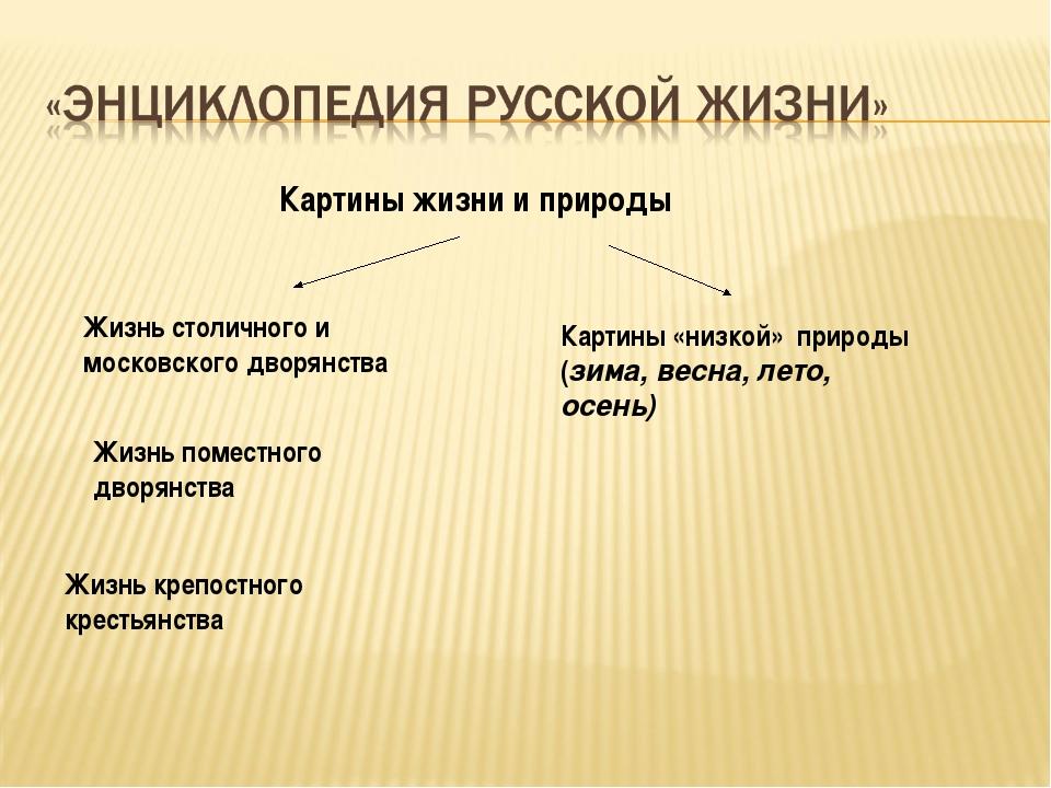 Картины жизни и природы Жизнь столичного и московского дворянства Жизнь крепо...