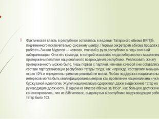 Фактическая власть в республике оставалась в ведении Татарского обкома ВКП(б