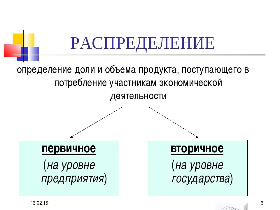 РАСПРЕДЕЛЕНИЕ определение доли и объема продукта, поступающего в потребление...