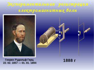 Генрих Рудольф Герц 22. 02. 1857 — 01. 01. 1894 1888 г Экспериментальная реги