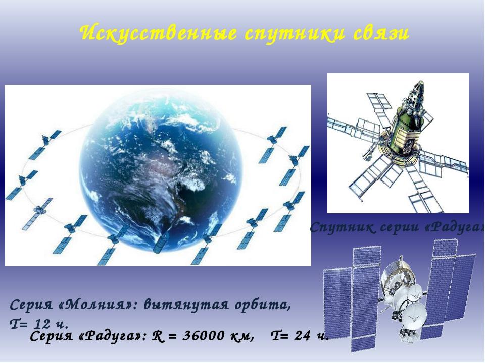 Спутник серии «Радуга» Серия «Молния»: вытянутая орбита, T= 12 ч. Серия «Раду...