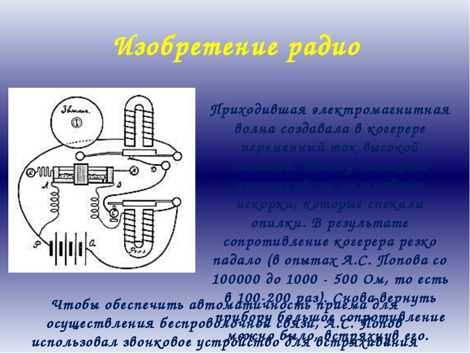 Изобретение радио Приходившая электромагнитная волна создавала в когерере пер...