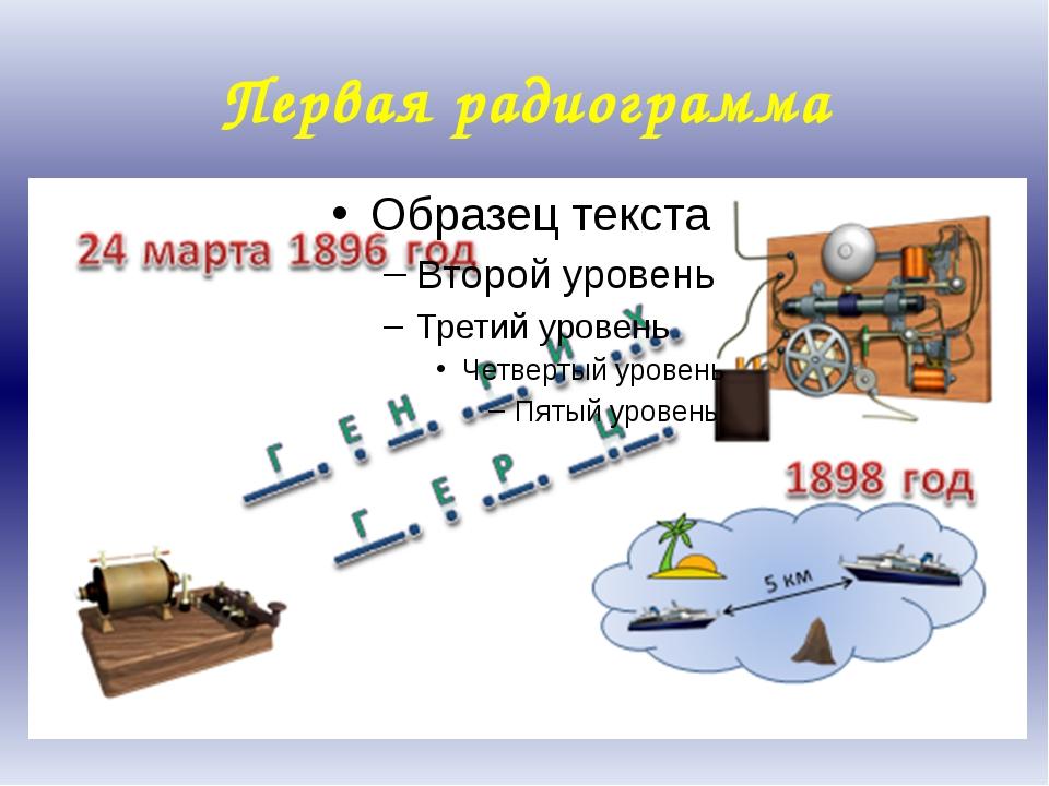 Первая радиограмма Александр Степанович Попов в 1896 году, используя передатч...