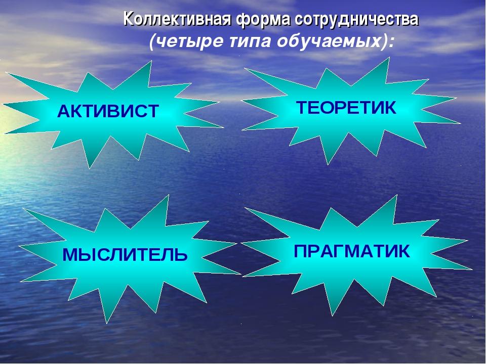 Коллективная форма сотрудничества (четыре типа обучаемых): АКТИВИСТ ТЕОРЕТИК...