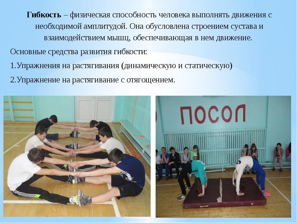 Гибкость – физическая способность человека выполнять движения с необходимой а...