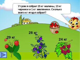 Утром я собрал 15 кг малины, 13 кг черники и 1 кг земляники. Сколько всего к