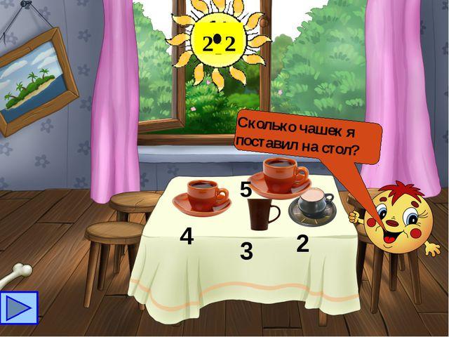 Сколько чашек я поставил на стол? 5 2 2 4 3 2