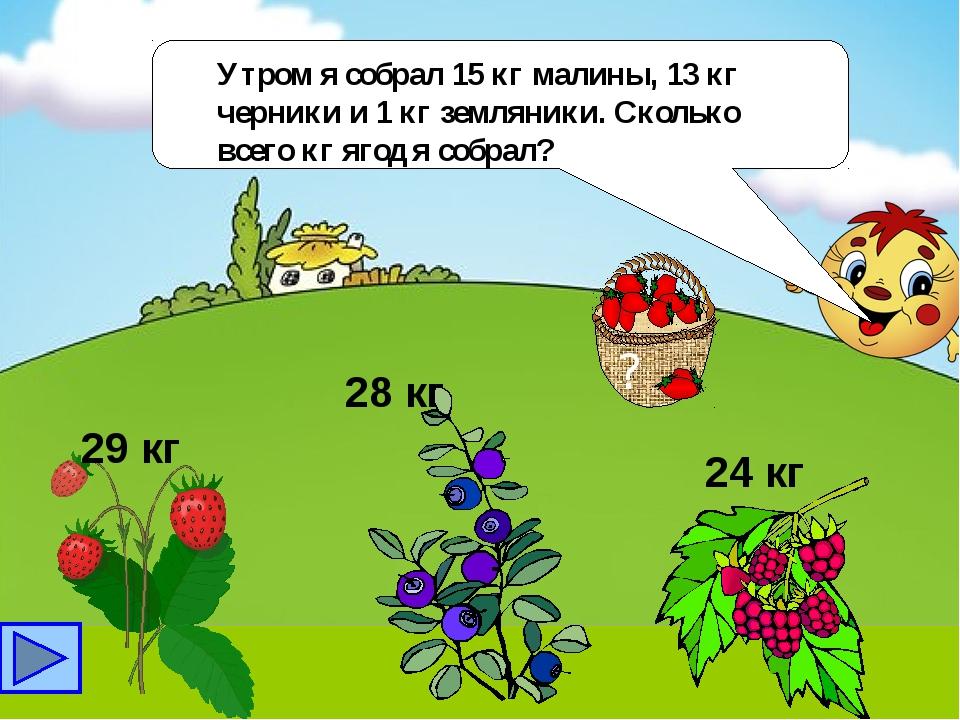 Утром я собрал 15 кг малины, 13 кг черники и 1 кг земляники. Сколько всего к...
