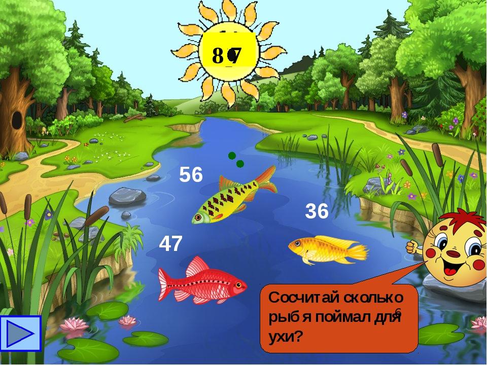 Сосчитай сколько рыб я поймал для ухи? 6 47 56 36 8 7