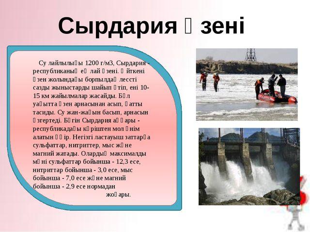 Сырдария өзені Су лайлылығы 1200 г/м3, Сырдария - республиканың ең лай өзені....