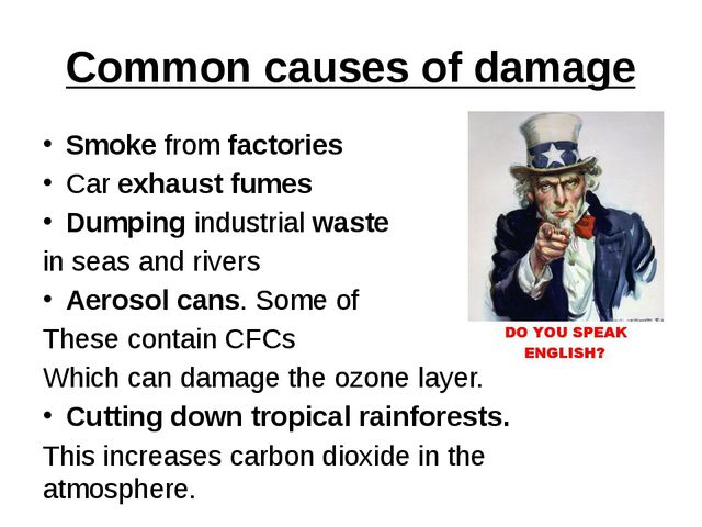 Common causes of damage Smoke from factories Car exhaust fumes Dumping indust...