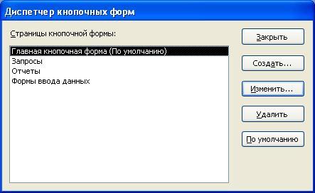 Отображение страниц в Диспетчере кнопочных форм Access