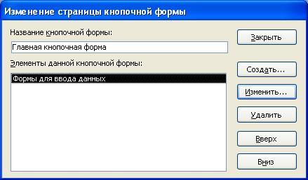 Окно Изменение страницы кнопочной формы Access - www.lessons-tva.info