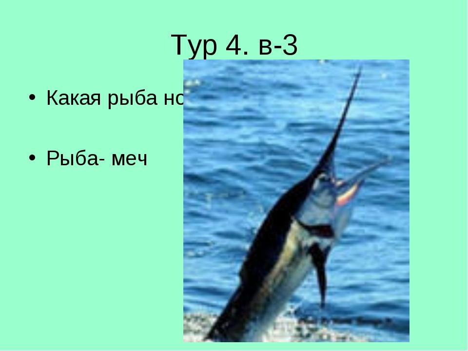 Тур 4. в-3 Какая рыба носит оружие на носу? Рыба- меч