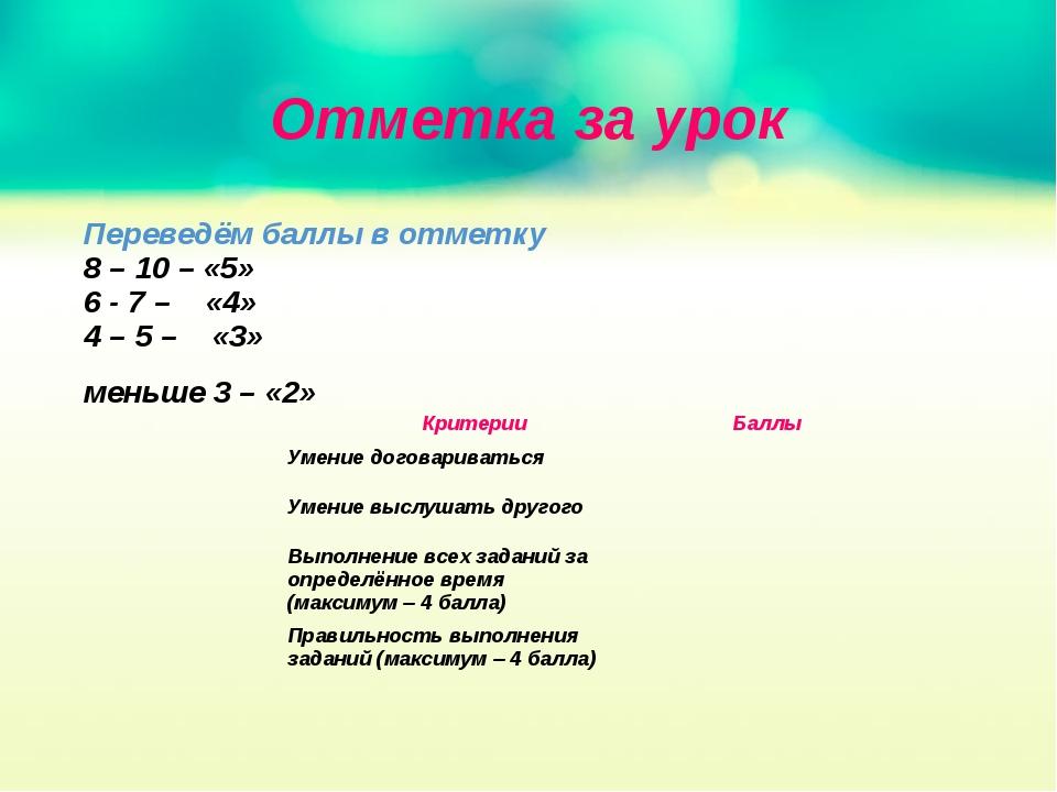 Отметка за урок Переведём баллы в отметку 8 – 10 – «5» 6 - 7 – «4» 4 – 5 – «3...