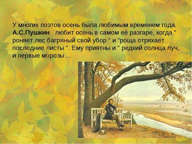 У многих поэтов осень была любимым временем года. А.С.Пушкин любит осень в са...