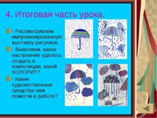 4. Итоговая часть урока. - Рассматриваем импровизированную выставку рисунков.