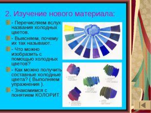 2. Изучение нового материала: - Перечисляем вслух названия холодных цветов. -