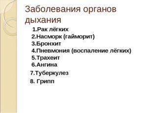 Заболевания органов дыхания 1.Рак лёгких 2.Насморк (гайморит) 3.Бронхит 4.Пне
