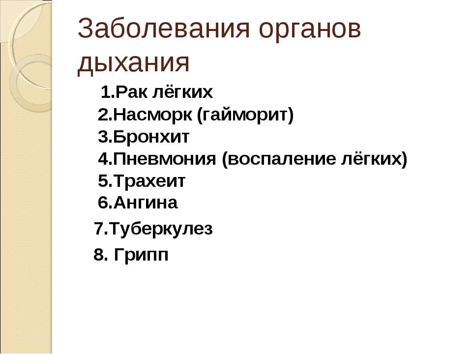 Заболевания органов дыхания 1.Рак лёгких 2.Насморк (гайморит) 3.Бронхит 4.Пне...