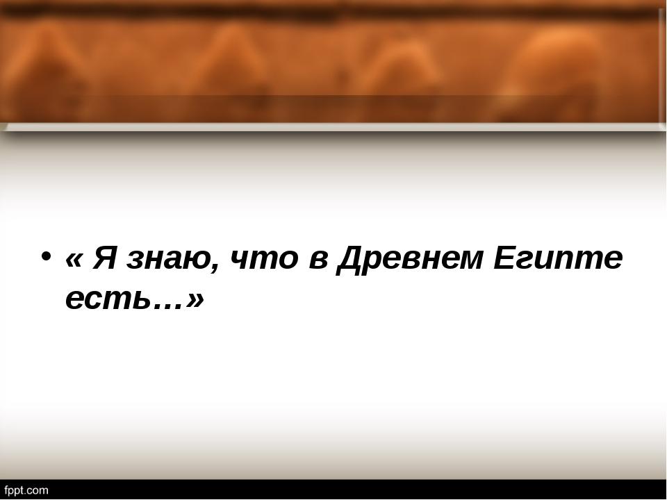 « Я знаю, что в Древнем Египте есть…»